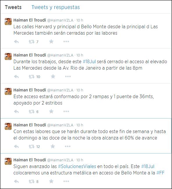 Información del twitter del Ministro Haiman El Troudi