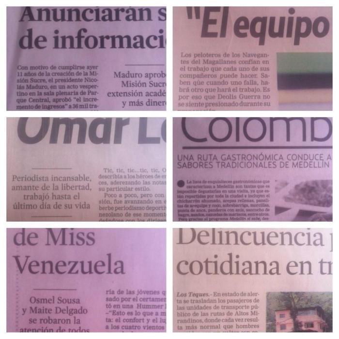Notas periodísticas sin firmas en señal de protesta por periodistas del diario El Universal