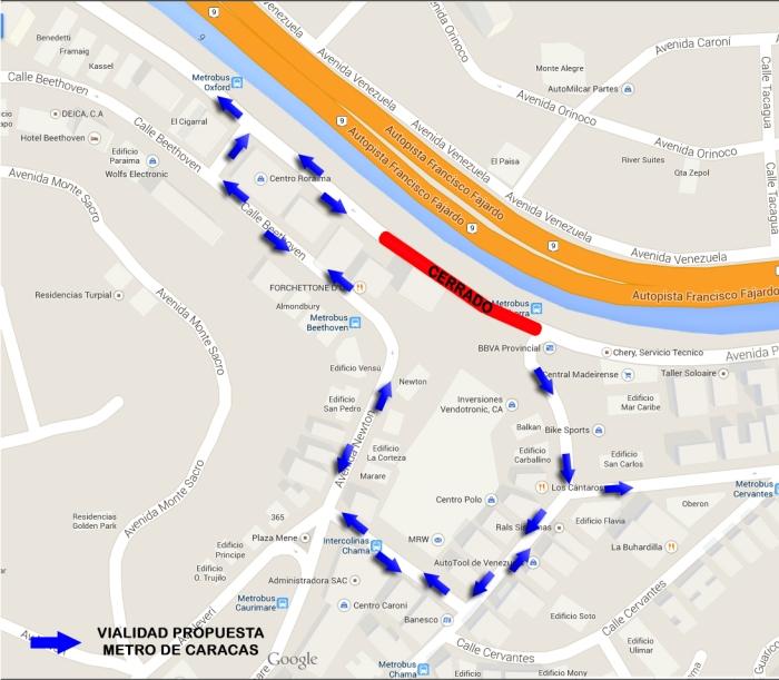 Señalización propuesta por el Metro de Caracas