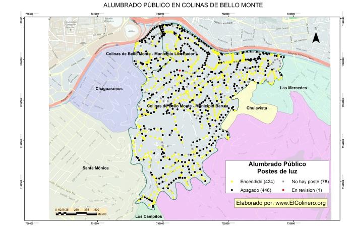 Postes de alumbrado público en Colinas de Bello Monte